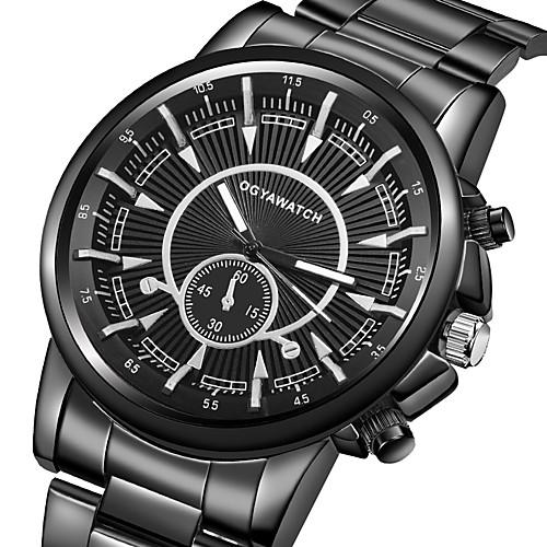 Муж. Нарядные часы Кварцевый Нержавеющая сталь Черный Ударопрочный Повседневные часы Аналоговый Роскошь Мода - Черный Один год Срок службы батареи