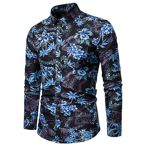 Муж. С принтом Большие размеры - Рубашка Хлопок, Классический воротник Цветочный принт Синий фото