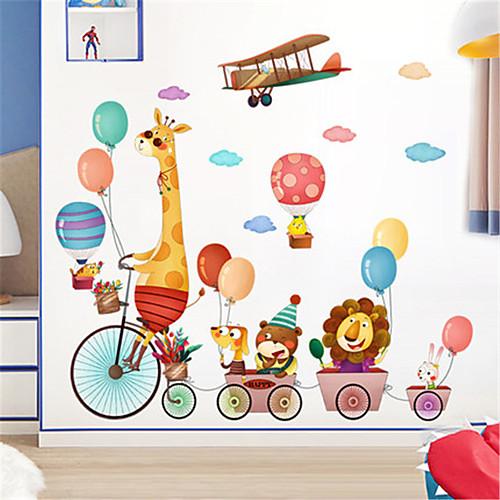 Мультфильм милые наклейки на стену животных самоклеящиеся обои детский сад украшения стены наклейки спальня прикроватная детская комната наклейки фото