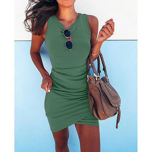 lightinthebox / Mulheres Básico Delgado Tubinho Vestido Sólido Decote V Assimétrico