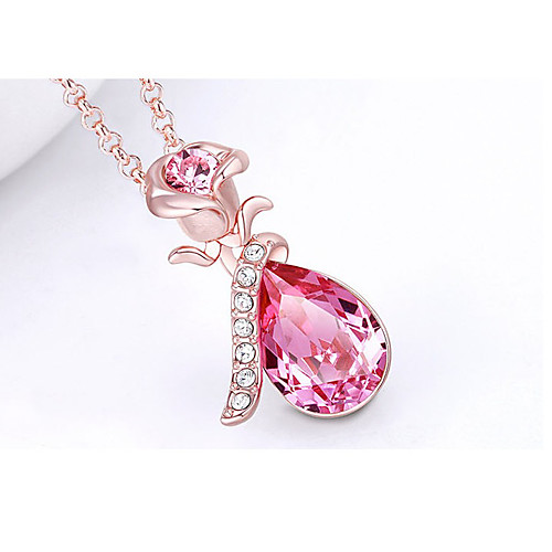 Жен. Ожерелья с подвесками Синий Розовый Розовое золото 45 cm Ожерелье Бижутерия 1шт Назначение Свадьба Обручение Подарок