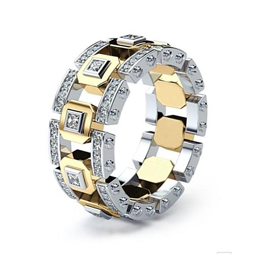 Муж. Жен. Кольцо 1шт Золотой Серебряное кольцо 1 Золотое кольцо 1 Искусственный бриллиант Сплав европейский Повседневные Бижутерия Острие ножа фото