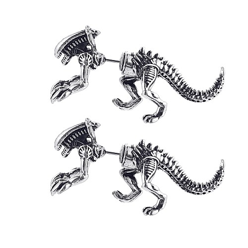 Жен. Серьги-гвоздики 3D Драконы Динозавр Уникальный дизайн модный Серьги Бижутерия Черный / Золотой / Серебряный Назначение Карнавал Для клуба 1 пара фото