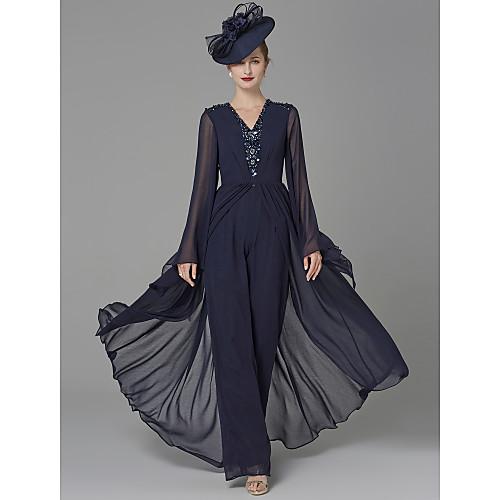 Комбинезон V-образный вырез В пол Жоржет Платье для матери невесты с Бусины / Драпировка от LAN TING BRIDE / Блеск и сияние