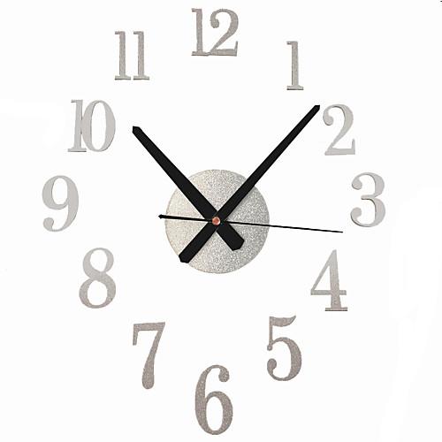 DIY кварцевые часы немой акриловые наклейки арабские цифры современный дизайн 3d настенные часы домашнего декора для офиса гостиная спальня фото