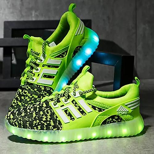 Мальчики Обувь Ткань Весна / Осень Удобная обувь / Обувь с подсветкой Спортивная обувь LED для Зеленый / Тёмно-синий / Красный / ТЭП (термоэластопласт, Черный