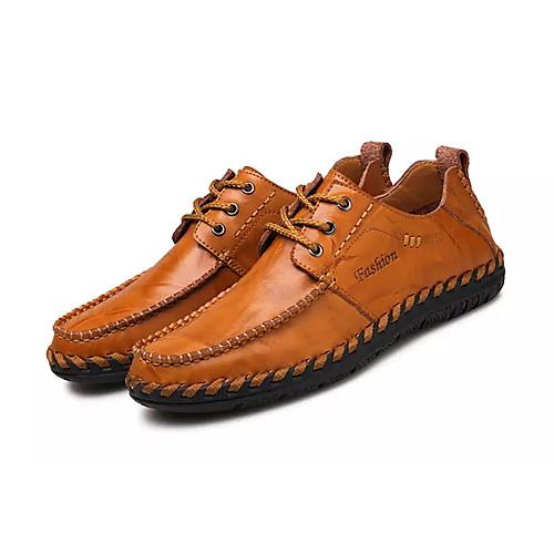 Муж. Комфортная обувь Полиуретан Весна На каждый день Туфли на шнуровке Нескользкий Черный / Темно-русый / Темно-коричневый