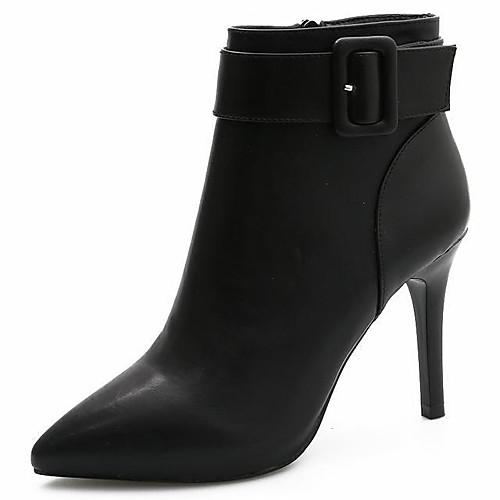 Жен. Полиуретан Наступила зима На каждый день Ботинки На шпильке Заостренный носок Ботинки Черный / Бежевый