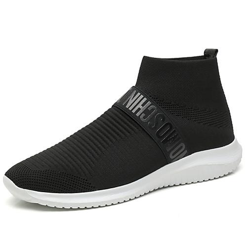 Муж. Комфортная обувь Микроволокно / Tissage Volant Весна лето На каждый день Спортивная обувь Для прогулок Нескользкий Сапоги до середины икры Черно-белый
