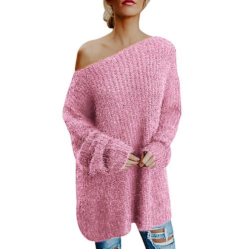 Жен. Однотонный Длинный рукав Пуловер, На одно плечо Розовый XXL