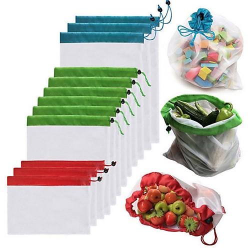 1 шт. Многоразовые сетки производят мешки моющиеся мешки для продуктовых магазинов хранения фруктов, овощей, игрушек всякой организатор сумка для хранения фото