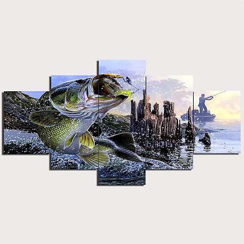 С картинкой Отпечатки на холсте - Пейзаж Животные Традиционный Modern 5 панелей Репродукции