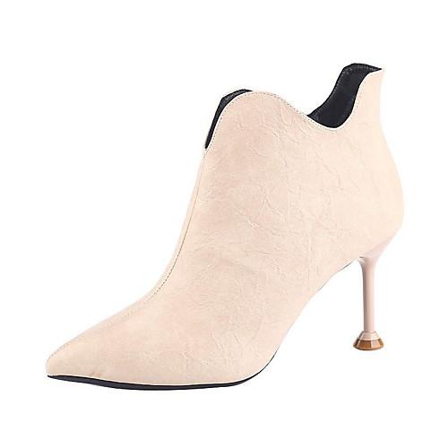 Жен. Полиуретан Весна Ботинки На шпильке Ботинки Черный / Бежевый