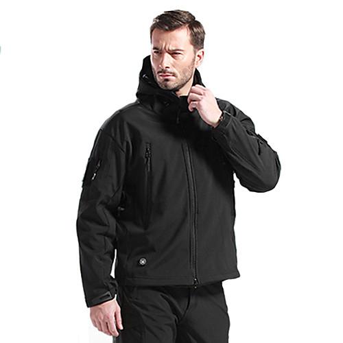 Муж. толстовка с капюшоном куртки Куртка софтшелл для туризма и прогулок на открытом воздухе Зима / Водонепроницаемость / Дышащий / С защитой от ветра / Флис / Софтшел, Черный