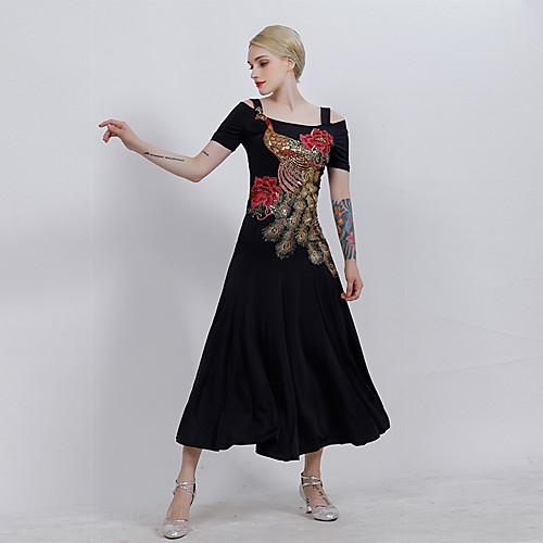 Бальные танцы Платья Жен. Выступление Ice Silk (искусственное волокно) Вышивка С короткими рукавами Платье