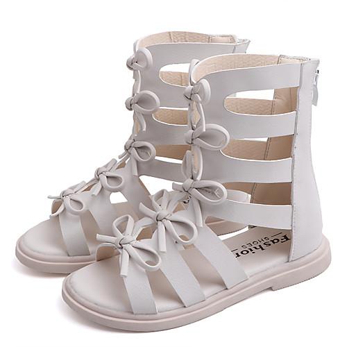 Девочки Полиуретан Сандалии Детская праздничная обувь Бант / Молнии / С отверстиями Белый / Черный Лето / Резина