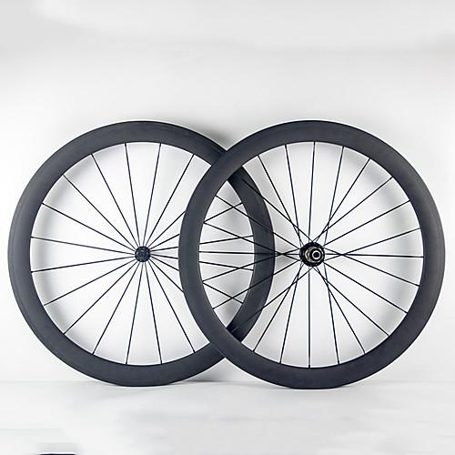 700CC Колесные пары Велоспорт 23 mm Шоссейный велосипед Полный углерод Однотрубка F:20 R:24 Спицы 50 mm
