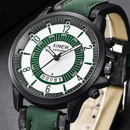 Муж. Нарядные часы Кварцевый Кожа Черный / Коричневый / Зеленый Повседневные часы Аналоговый Роскошь Мода - Кофейный Зеленый Хаки Один год Срок службы батареи