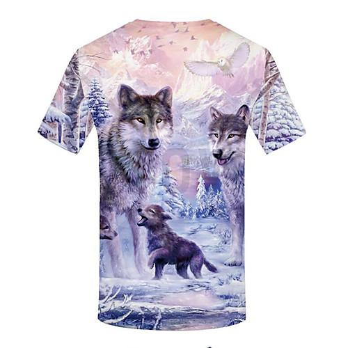 lightinthebox / Homens Tamanhos Grandes Camiseta Básico Estampado, 3D / Animal Decote Redondo Branco XXL / Manga Curta