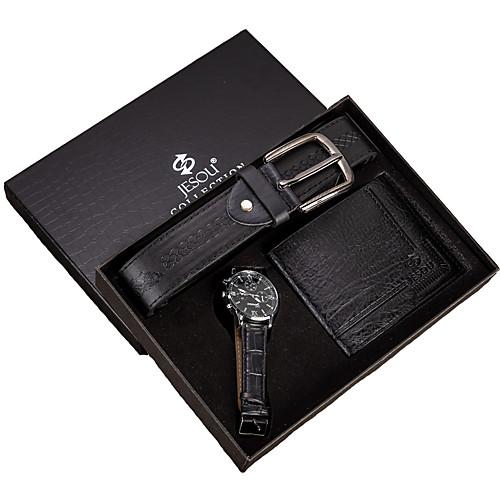 Муж. Нарядные часы Кварцевый Подарочный набор Кожа Черный 30 m Секундомер Творчество Новый дизайн Аналоговый На каждый день минималист - Черный Два года Срок службы батареи / Крупный циферблат