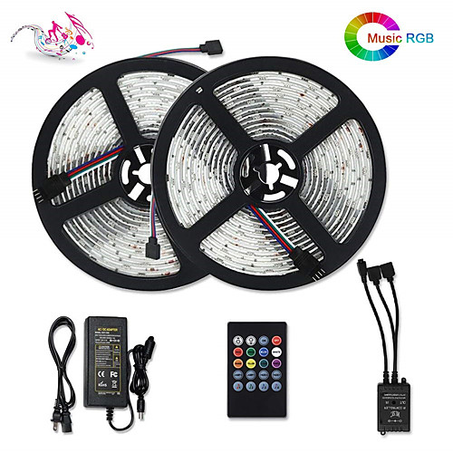 Светодиодные полосы света синхронизация музыки 5050 10м активированный звук светодиодные полосы 300 светодиодов RGB изменение цвета светодиодные фонари веревки smd 5050 10мм лента с ИК-пультом и 12v 6 фото