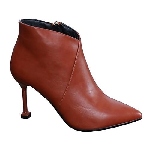 Жен. Полиуретан Наступила зима На каждый день Ботинки На шпильке Заостренный носок Ботинки Черный / Бежевый / Красный