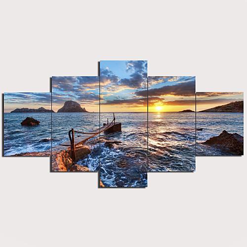 С картинкой Отпечатки на холсте - Пейзаж Море Традиционный Modern 5 панелей Репродукции