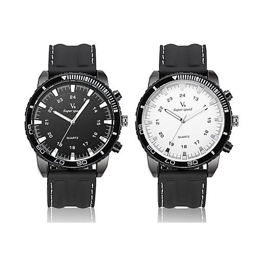 V6 Муж. Нарядные часы Кварцевый силиконовый Pезина Черный Повседневные часы Аналоговый Роскошь Мода - Белый Черный Один год Срок службы батареи