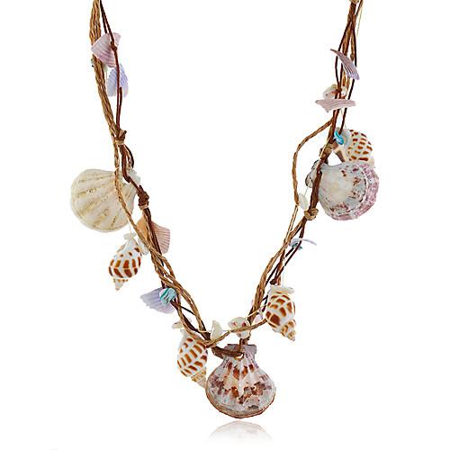 Жен. Многоцветный Ожерелья с подвесками Заявление ожерелья Струнные ожерелья Кроссовер Морская раковина Художественный Богемные Романтика Этнический Морская раковина Обнаженная цветная 63 cm Ожерелье