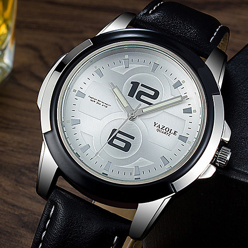 Муж. Нарядные часы Кварцевый Формальный Кожа Черный / Коричневый Светящийся Повседневные часы Аналоговый Роскошь Мода - Черный / коричневый Черно-белый Белый / Бежевый Один год Срок службы батареи