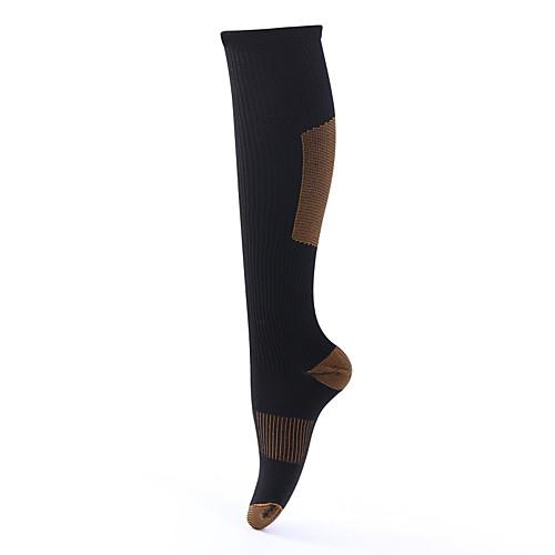 Носки для пешеходного туризма Компрессионные носки 1 пара Дышащий Теплый Быстровысыхающий Удобный Нейлон Осень для Муж. Жен. Восхождение Путешествия Черный