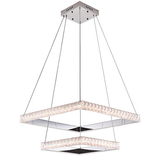 квадратное кольцо с регулируемой яркостью хрустальная люстра современная столовая лампа подвесные светильники подвесные светильники круг освещение потолочные светильники комнатные светильники с