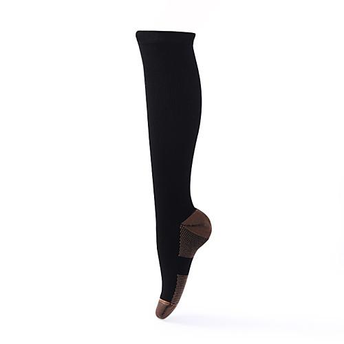Носки для пешеходного туризма Компрессионные носки 1 пара Дышащий Теплый Быстровысыхающий Удобный Пэчворк Нейлон Осень для Муж. Жен. Восхождение Путешествия Черный
