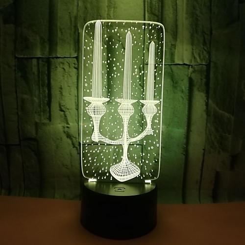 1 шт. Творческий 3d свеча стерео ночник красочные акриловые сенсорный пульт дистанционного управления 3d маленькая настольная лампа подарок на день святого валентина