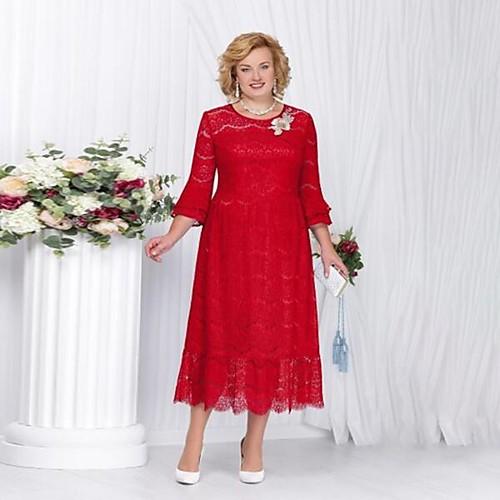 Жен. Классический Оболочка Платье - Однотонный, Кружева Средней длины