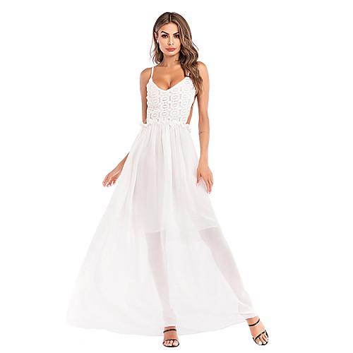 Жен. Изысканный Элегантный стиль А-силуэт Оболочка Платье - Однотонный, Пэчворк Средней длины