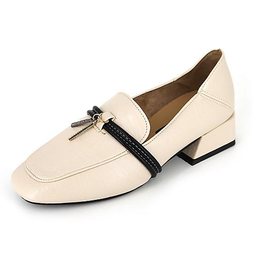 Жен. Мокасины и Свитер Комфортная обувь На толстом каблуке С кисточками Полиуретан На каждый день Лето Черный / Бежевый