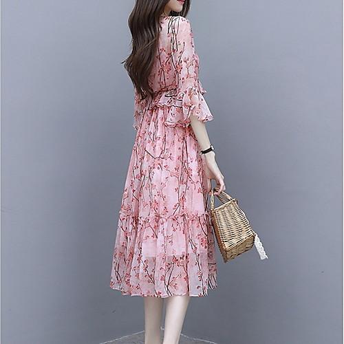 lightinthebox / Mulheres Elegante Evasê Vestido Geométrica Médio