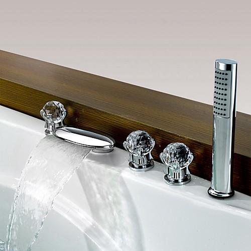 Смеситель для ванны - Современный Хром Разбросанная Медный клапан Bath Shower Mixer Taps
