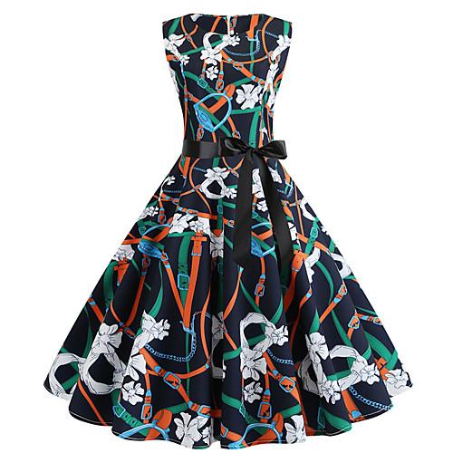 Жен. Классический Шинуазери (китайский стиль) А-силуэт С летящей юбкой Платье - Контрастных цветов, С принтом До колена