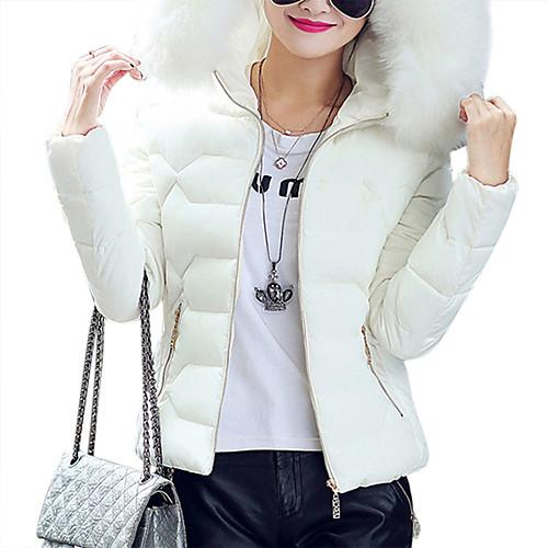 Yiwu pby_091x женская куртка из хлопка с капюшоном Тонкий короткий параграф с большим меховым воротником хлопчатобумажная куртка женская плюс размер хлопка куртка white_m фото