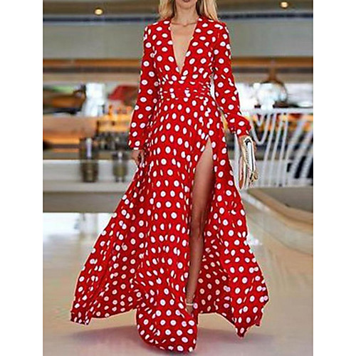 lightinthebox / Mujer Boho Sofisticado Corte Swing Vestido - Estampado, A Lunares Geométrico Maxi Escote en V Profunda Flamencos orangután Rose