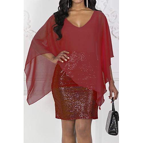 lightinthebox / Mulheres Elegante Delgado Bainha Vestido - Paetês, Sólido Decote V Altura dos Joelhos