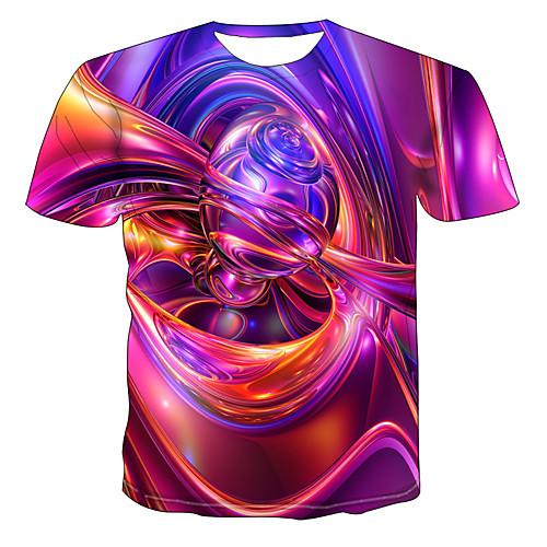 lightinthebox / Hombre Tallas Grandes Abstracto Gráfico Estampado Camiseta Ropa Cotidiana Escote Redondo Arco Iris / Manga Corta