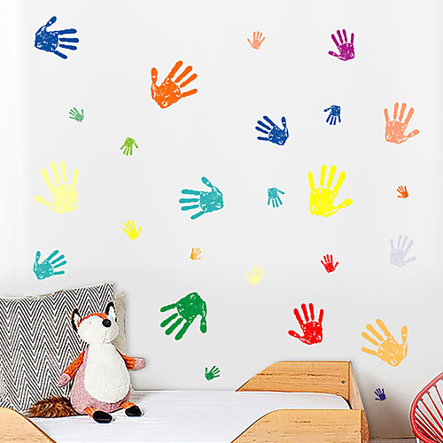 Creative diy цветной отпечаток ладони для детской спальни гостиной детский сад и самоклеющиеся обои наклейки декоративные наклейки на стену - плоские стикеры стены формы / натюрморт детская комната / фото