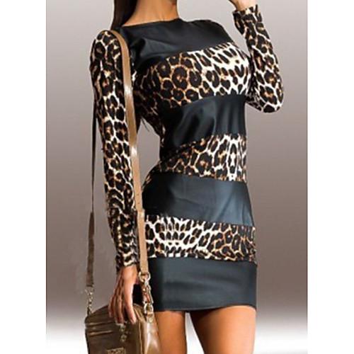 lightinthebox / Mulheres Mini Preto Vestido Básico Tubinho Leopardo Estampado S M Delgado