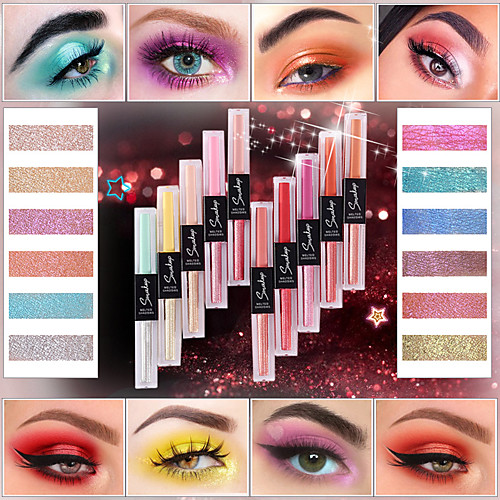 Smakup 10 цветов двусторонний жидкий тени для век матовый блеск один тени для век водонепроницаемый макияж лица косметика для красоты tslm1