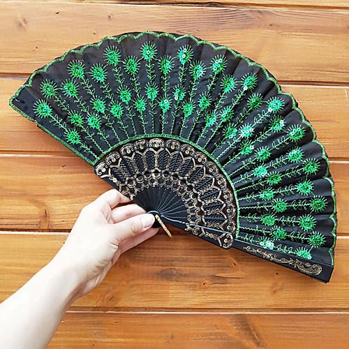 Пластиковые блестки вышивка складной веер свадебные сувениры свадебные принадлежности подарок 23 см длиной