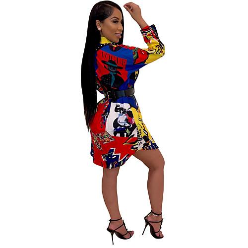 lightinthebox / Mulheres Básico Camisa Vestido Geométrica Acima do Joelho