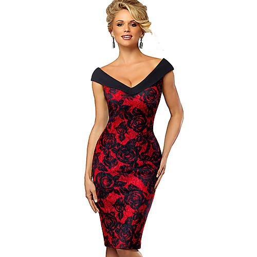 lightinthebox / Mulheres Vinho Vermelho Vestido Elegante Sofisticado Tubinho Bainha Estampa Colorida Ombro a Ombro Decote Princesa Patchwork Estampado S M